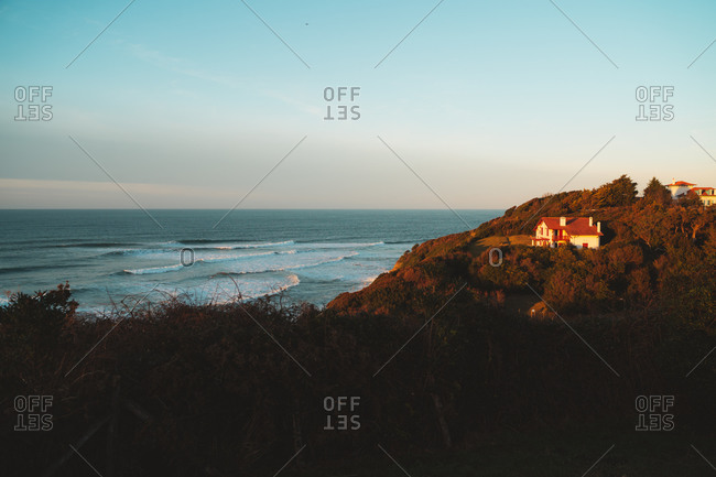 Lonely house illuminated by sunlight on the south west coast of France