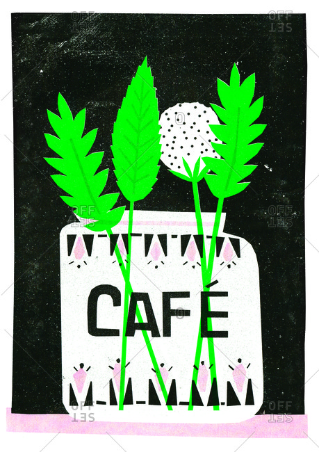"Illustration of jar with plants labeled ""Caf�"""