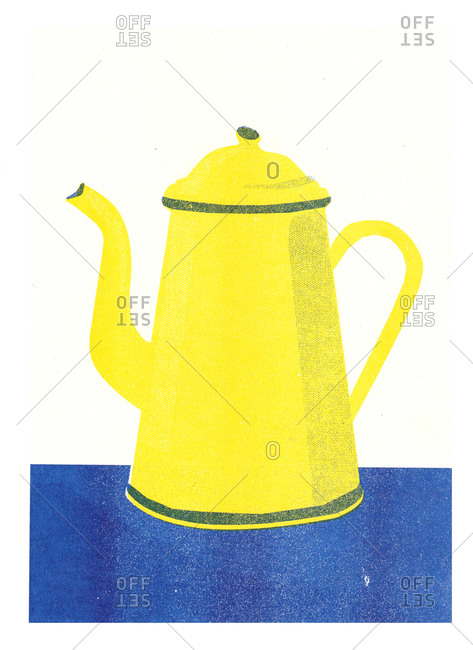 Yellow tea kettle on blue surface illustration