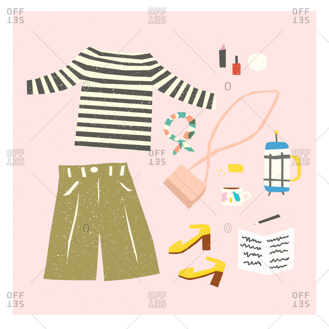 Illustration of women's clothing and accessories