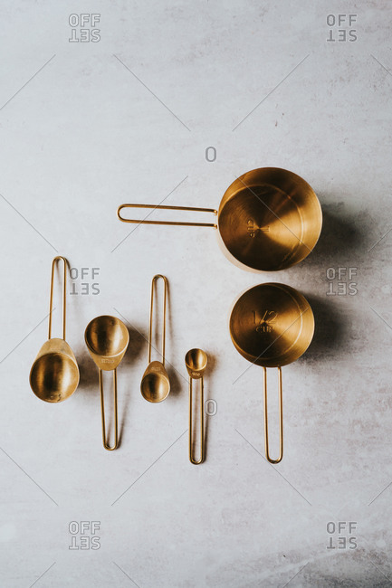 Overhead view of old measuring cups