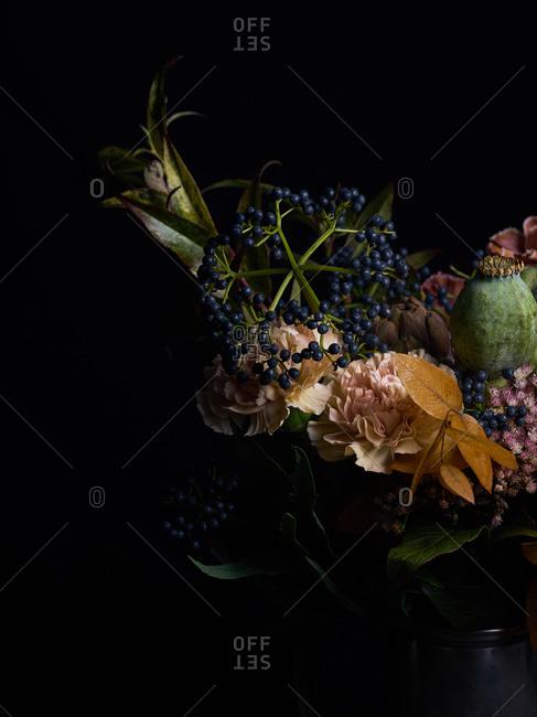 Flower bouquet on dark background