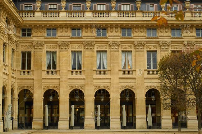 Paris, France - 9 November 2019: Palais Royal Garden and galleries
