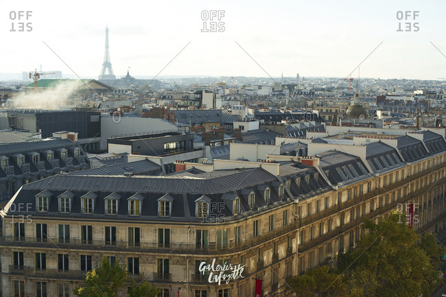 Paris, France - 9 November 2019: Paris rooftop view