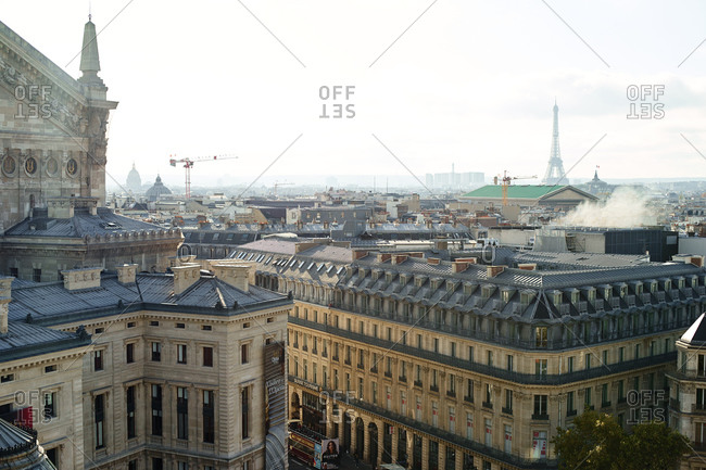 Paris, France - 9 November 2019: Paris rooftop view  with Eiffel Tower