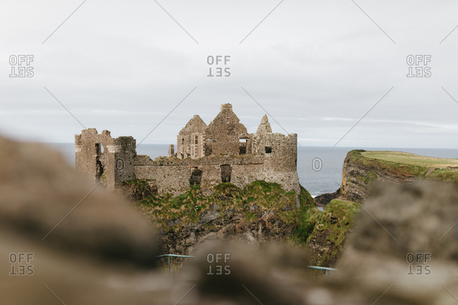 Ruins of the Dunluce Castle on the coast of Northern Ireland