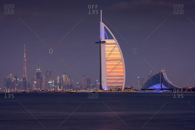 Dubai, United Arab Emirates - December 12, 2019: Burj Khalifa and Dubai skyline at dusk