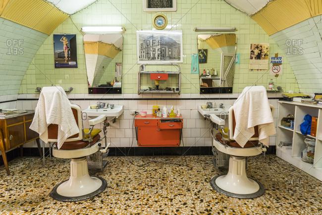 Italy, Apulia, Galatina - June 30, 2015: Historical family barber shop