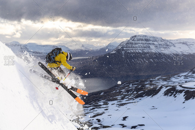 Male extreme skier in the east fjords of Iceland.