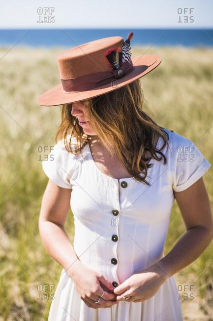 Vintage prairie exploration of desert island