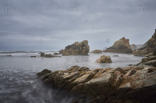 Cloudy beach in the northern coast of spain