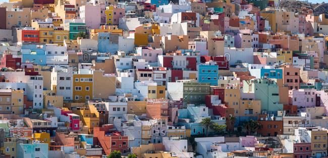 Colorful houses of san juan neighborhood in uptown in las palmas