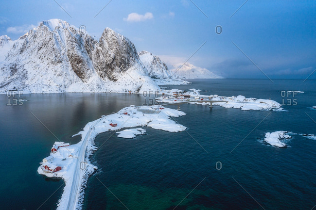 Road to winter wonderland in Lofoten Islands