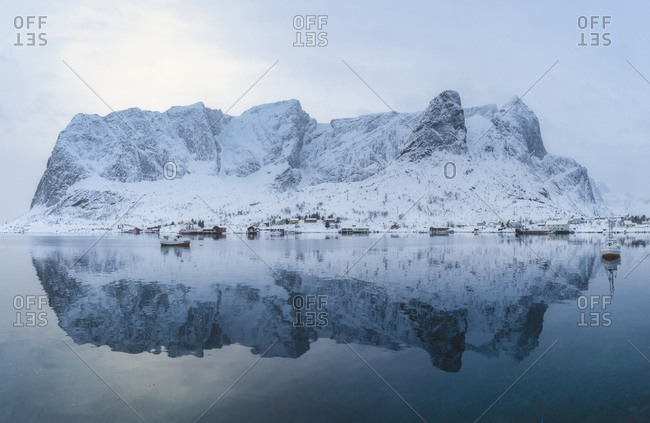 Epic reflections right after a gnarly snow storm in Lofoten Islands