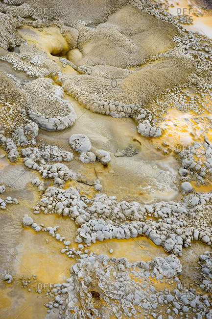 Delicate sinter formations and run-off channels around anemone geyser