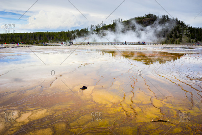 A hat sits in the colorful run-off channels of grand prismatic spring