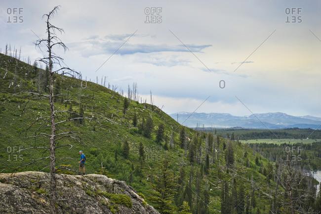 Wyoming - June 6, 2016: Man hiking on mountain top, cascade canyon, Grand Teton National Park