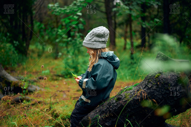 Girl in warm clothing sitting on tree stump with leaves in hand