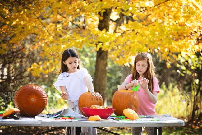 Two young girls carving pumpkins outdoors