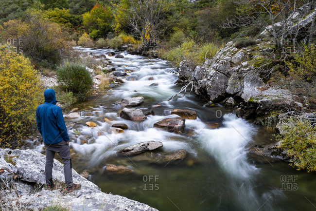 Curueno river with sedated water. autumn of the Valdeteja Valley, Spain