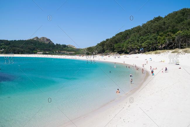 Spain, Galicia - July 2, 2019: Odas beach in the Cies Islands, Alicia (Spain)