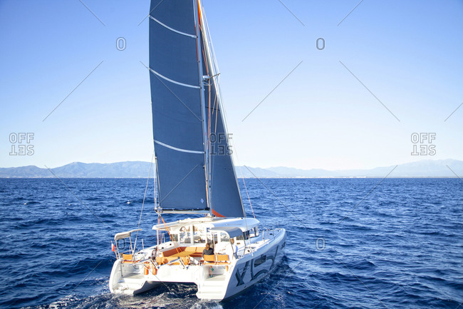 France, Occitanie, Canet-en-roussillon - October 11, 2013: Excess catamaran 12 boat out at sea