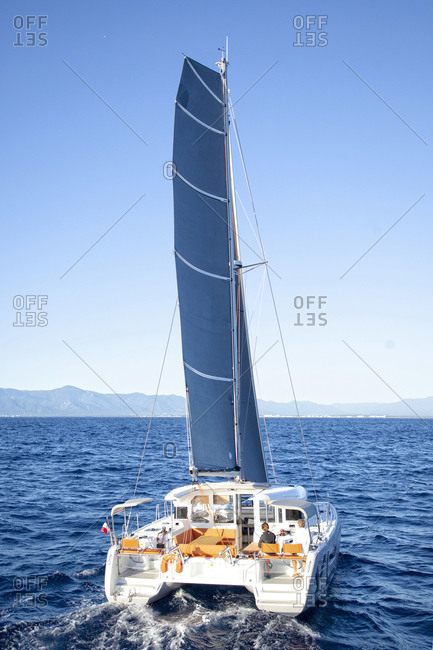 France, Occitanie, Canet-en-roussillon - October 11, 2013: Yacht sailing on an ocean