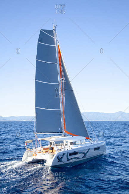 France, Occitanie, Canet-en-roussillon - October 11, 2013: Excess catamaran 12 yacht sailing at sea