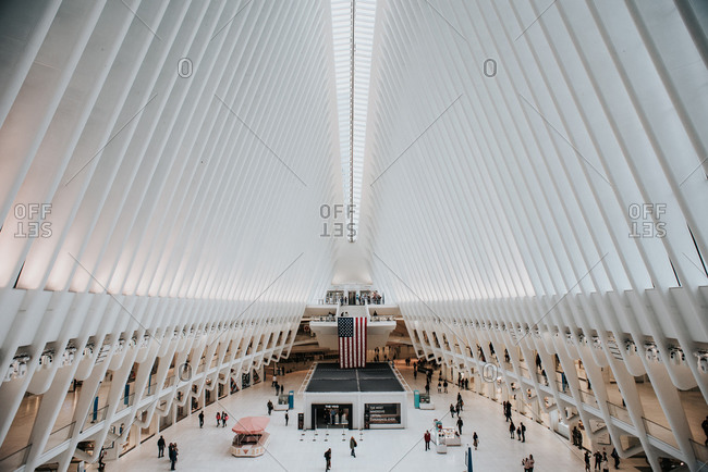 United States, New york, New york - October 14, 2019: The interior of the Oculus in World Trade Center station in NYC, USA.