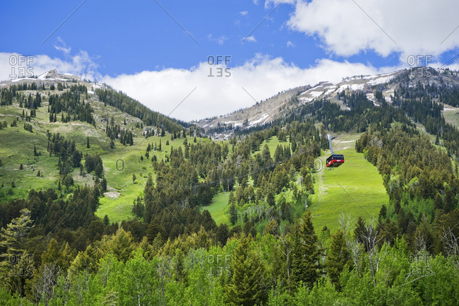 United States, Wyoming, Teton Village - June 4, 2016: Aerial tram at the Jackson Hole Mountain resort