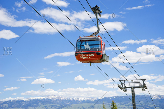 United States, Wyoming, Teton Village - June 4, 2016: Gondola at Jackson Hole mountain resort