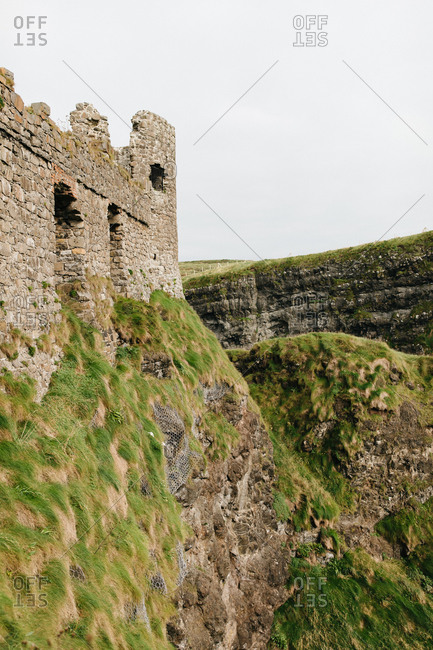 The Dunluce Castle on a cliff in Northern Ireland