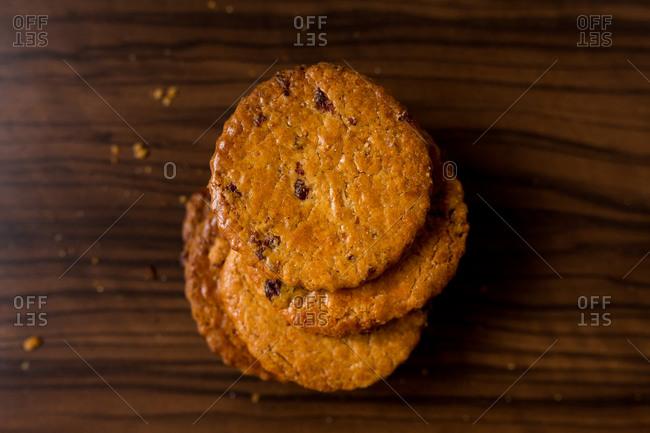 Top view of dried fruit cookies