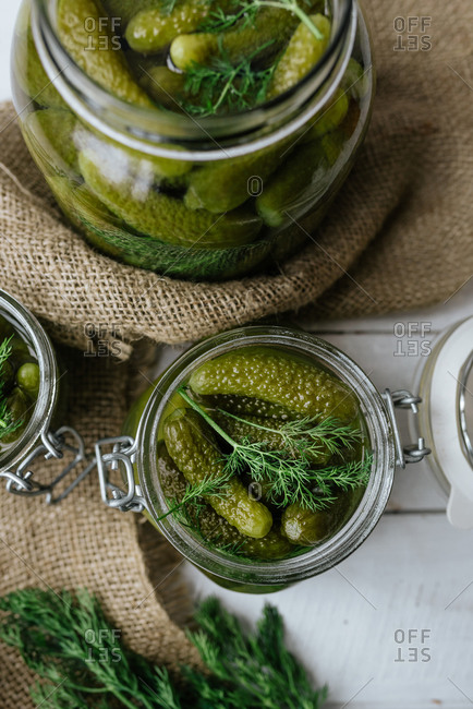 Jars of homemade sour pickles and dill from above