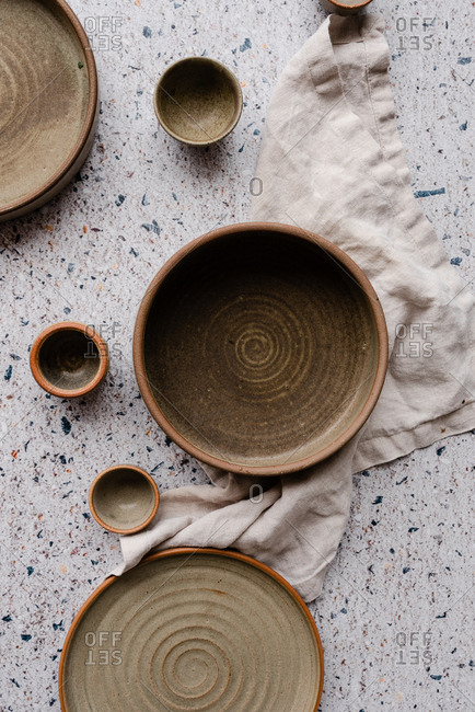 Handmade pottery on neutral background