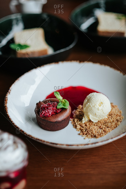 Lava cake on a plate with ice cream