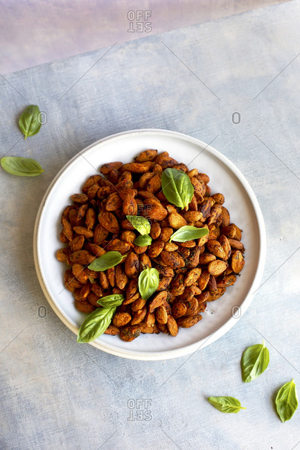 Tomato basil almonds from above