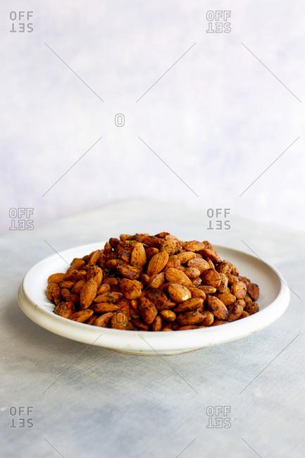 Tomato basil almonds in a dish