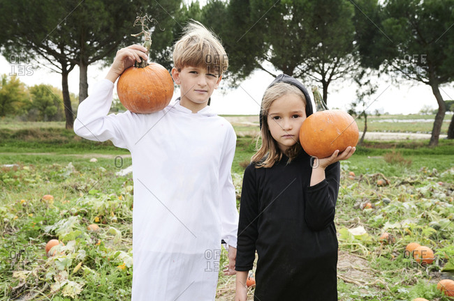Siblings dressed for halloween holding pumpkins in a field