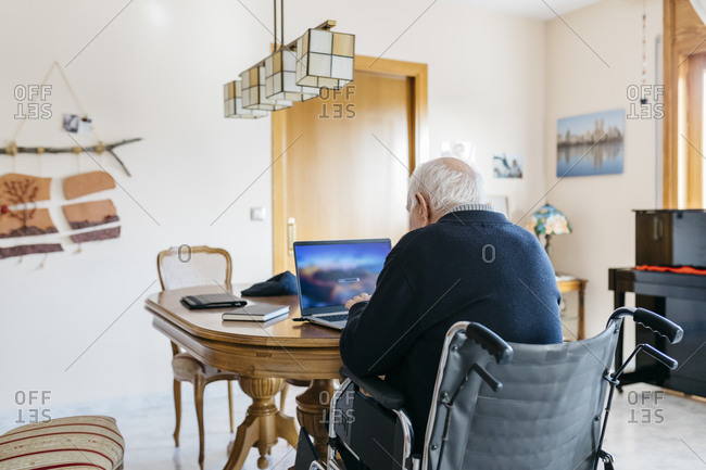 Back view of senior man in wheelchair using laptop at home