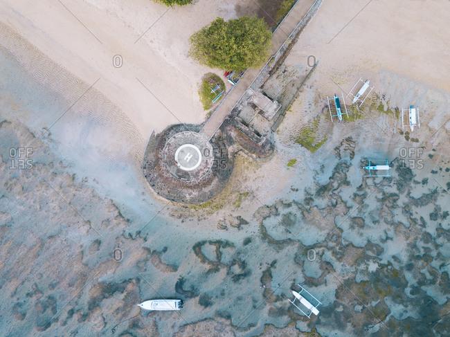 Indonesia- Bali- Aerial view of helipad on Sanur beach