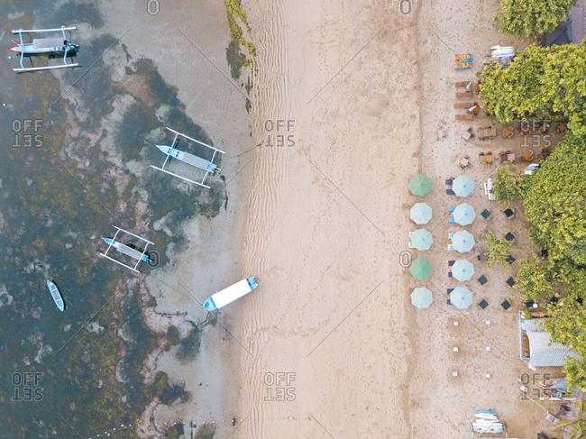 Indonesia- Bali- Sanur- Aerial view of resort beach