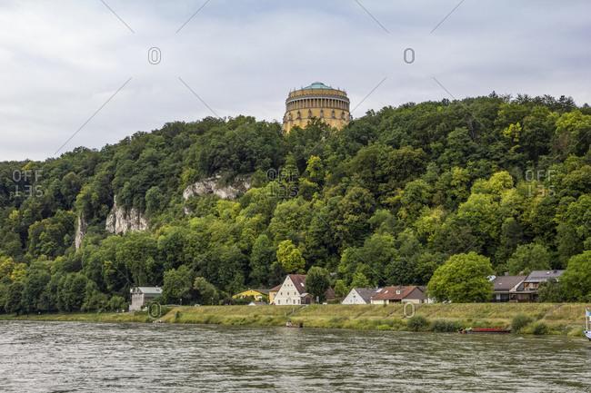 Germany- Bavaria- Kelheim- Hall of Liberation overlooking river Danube