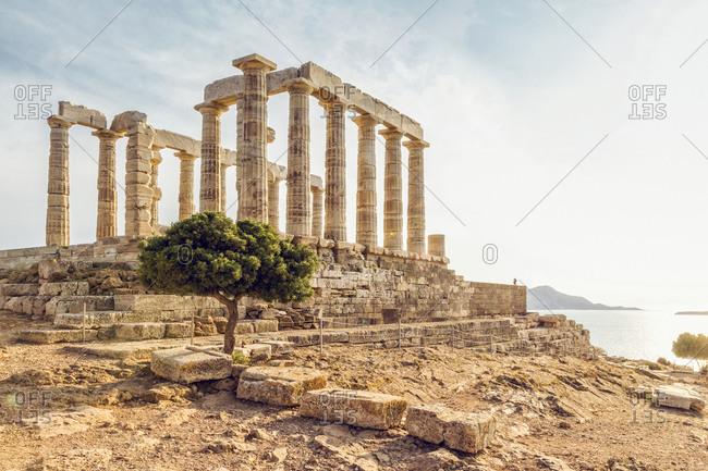 Ancient ruin of Poseidon temple- Cape Sounion- Attika- Greece