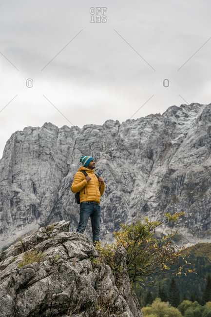 Hiker on viewpoint at Laghi di Fusine- Friuli Venezia Giulia- Italy