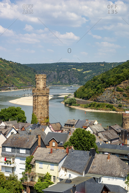 Germany- Middle Rhine Valley- Oberwesel- View of town with Rhine river and Ochsenturm