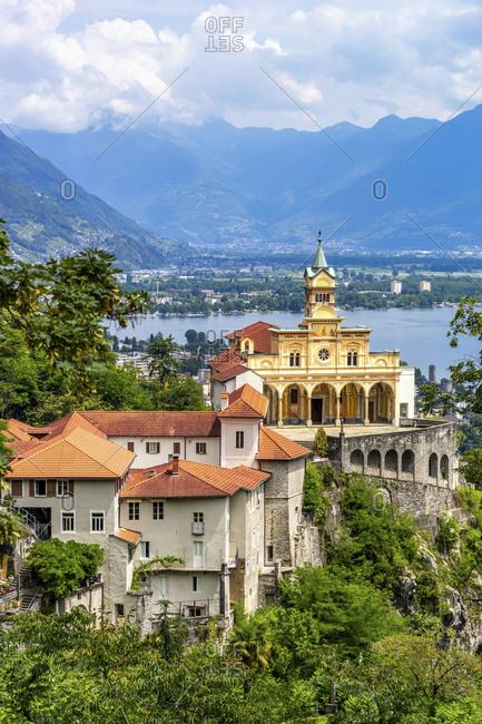 Switzerland- Locarno- Madonna del Sasso sanctuary and Lake Maggiore