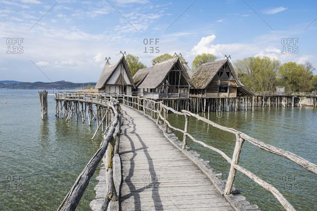 Germany- Unteruhldingen- Stilt houses on Lake Constance open-air archeological museum