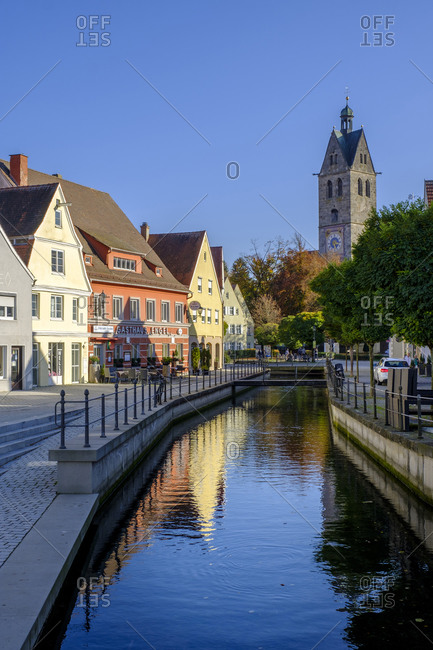 October 26, 2019: Germany- Bavaria- Swabia- Lower Allgau- Memmingen- Old town with Frauenkirche tower