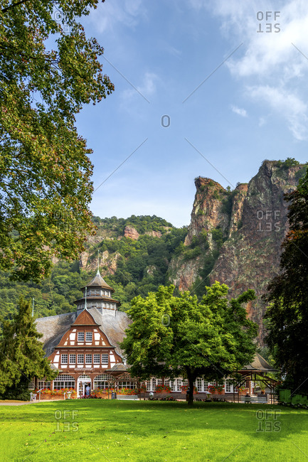 January 15, 2020: Germany- Rhineland-Palatinate- Bad Munster am Stein-Ebernburg- Spa at foot of cliff in spring